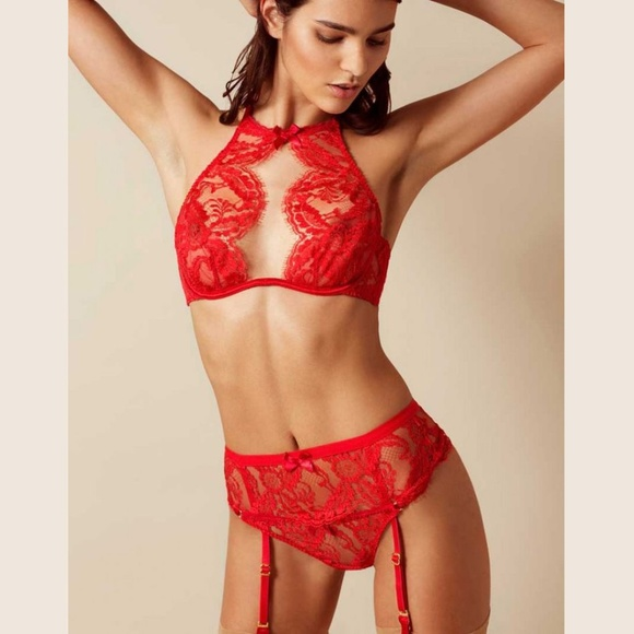 043a32dbd Agent Provocateur Red Lace Kendall Lingerie Set